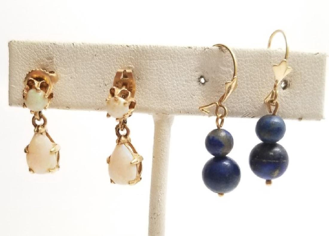 Two Pairs 14kt Gold Earrings - Opal & Beads