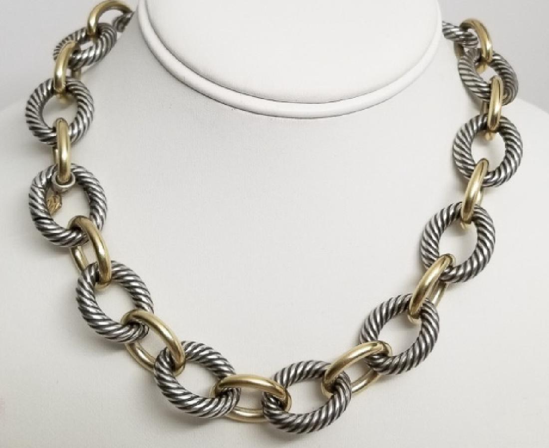 David Yurman XL Link Necklace Sterling & 18k Gold