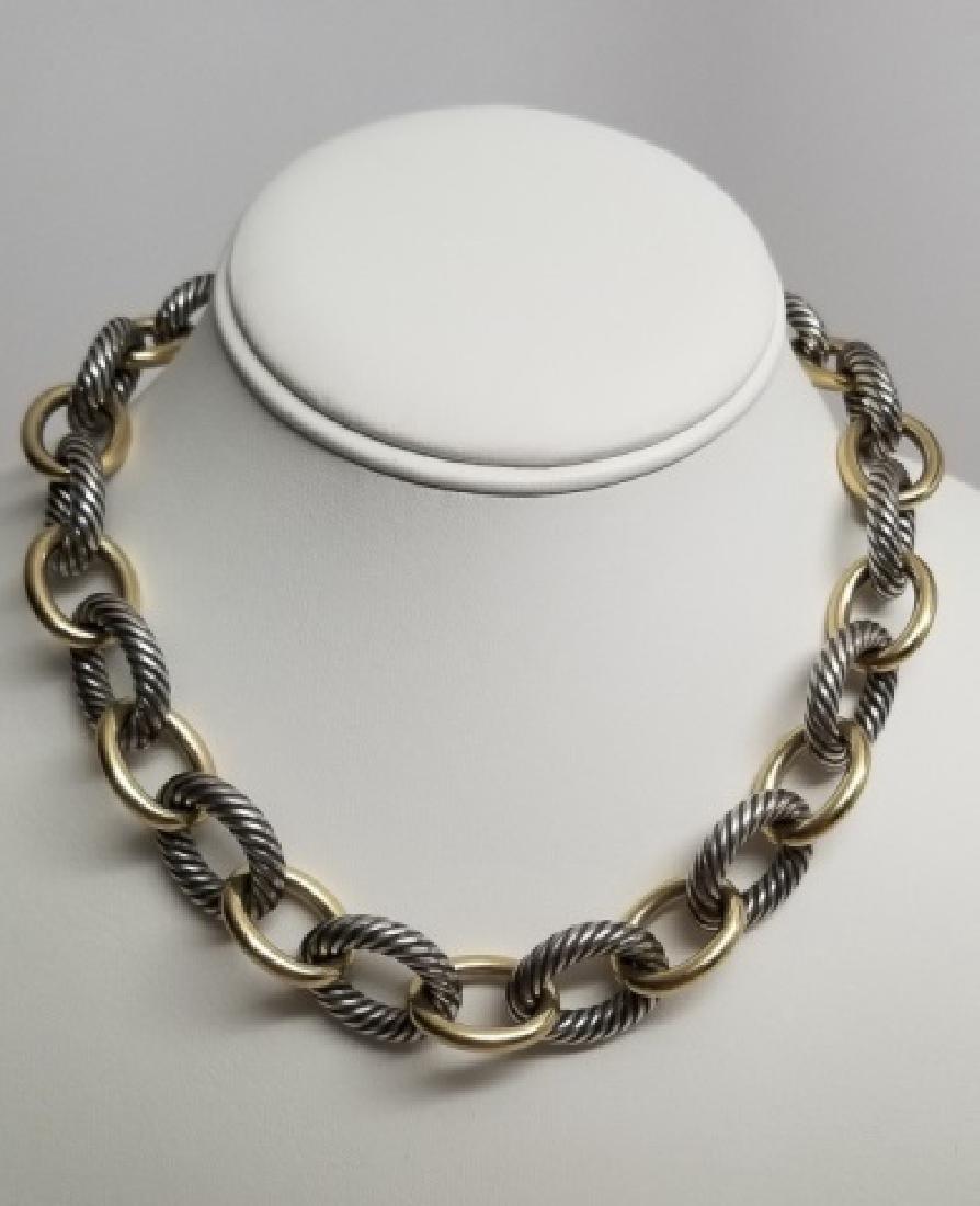 David Yurman XL Link Necklace Sterling & 18k Gold - 7