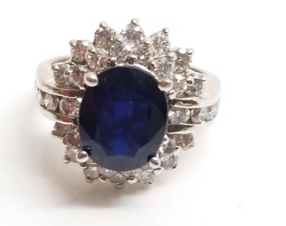 Estate 1 Carat Diamond & 3 Carat Sapphire Ring - 3