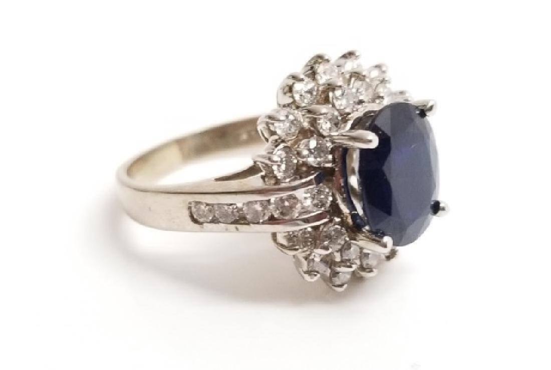Estate 1 Carat Diamond & 3 Carat Sapphire Ring - 4
