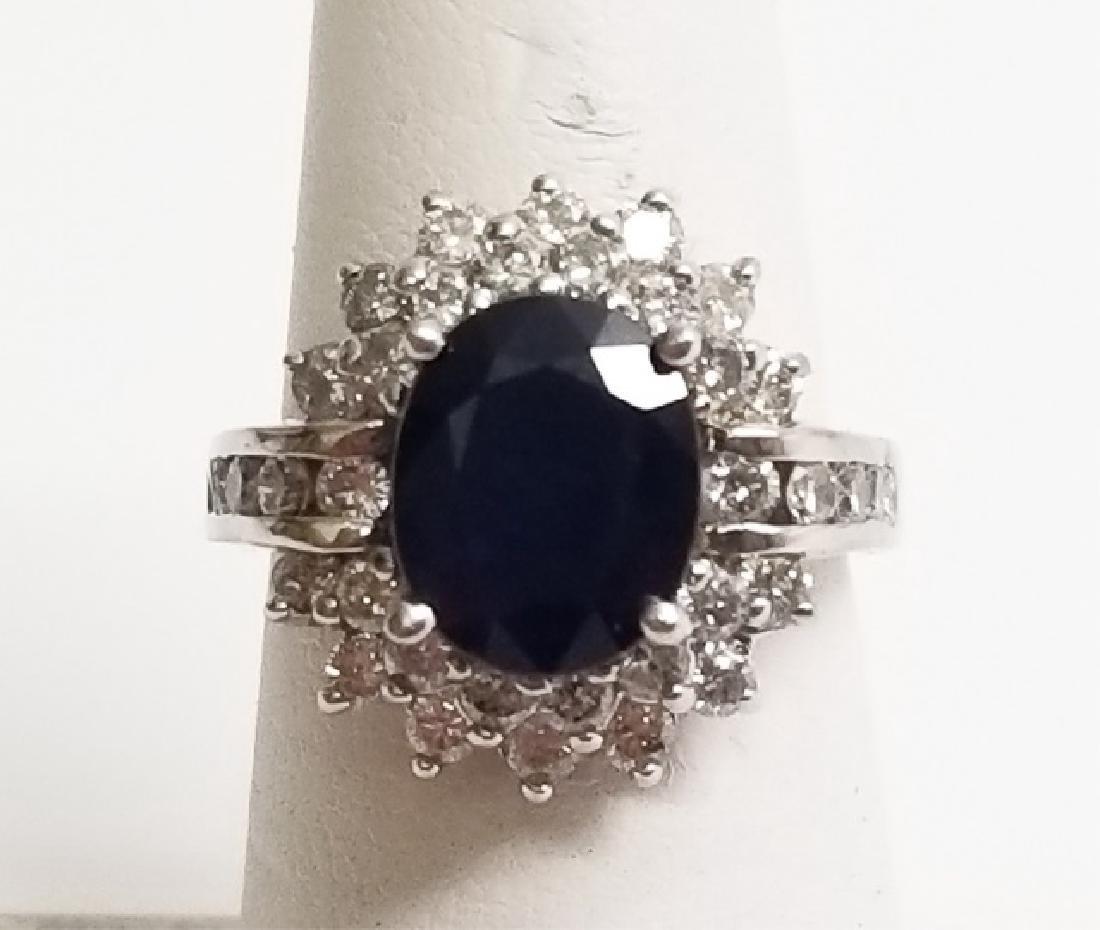 Estate 1 Carat Diamond & 3 Carat Sapphire Ring - 8