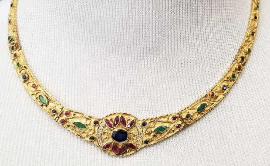 Etruscan Revival Style 18kt Ruby Diamond Necklace