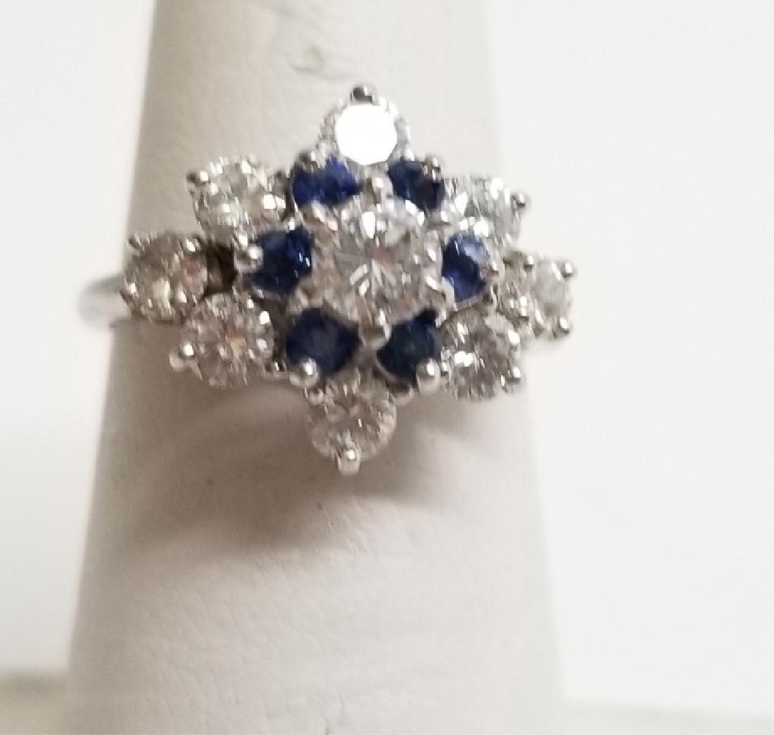 Estate 18k White Gold 1 Ct Diamond & Sapphire Ring