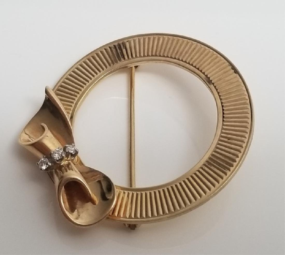 Estate Retro 14kt Yellow Gold & Diamond Brooch