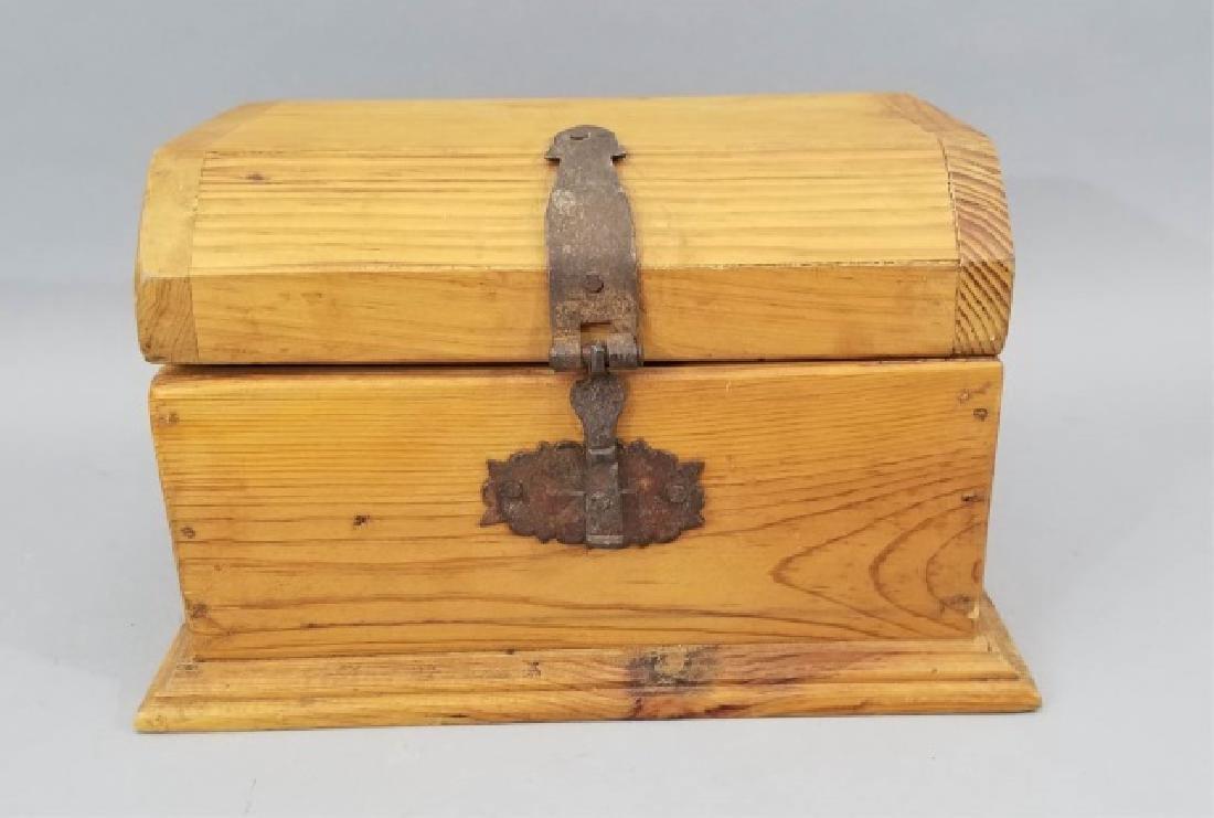 Handmade Wood Iron Jewelry Chest / Miniature Trunk