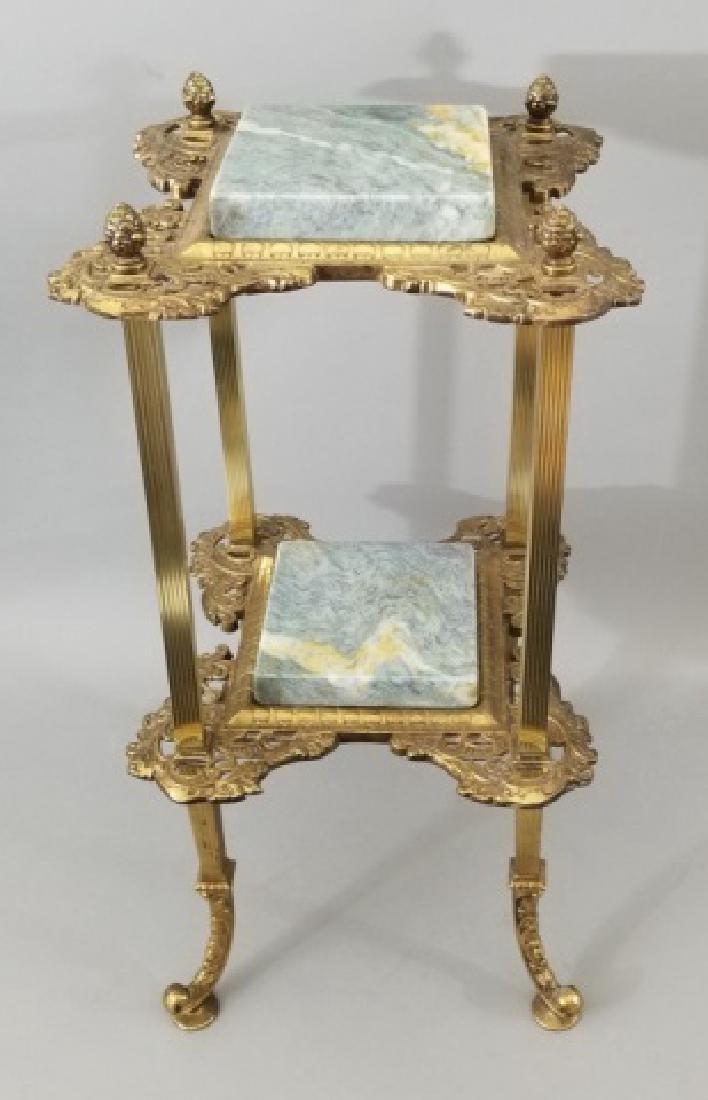 Gilt Ormolu Victorian Accent Table w Granite Tops