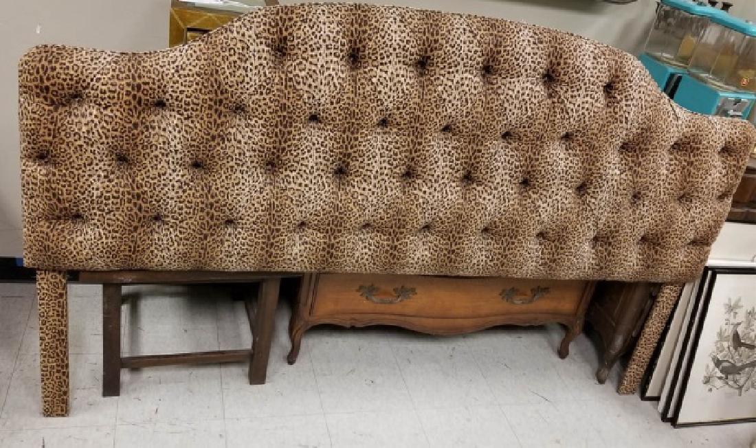 Custom Made Tufted Cheetah Fabric Headboard
