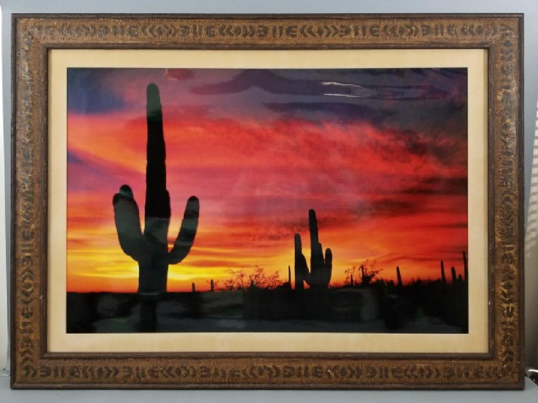 Framed Photo of American West Sunset w Cactus