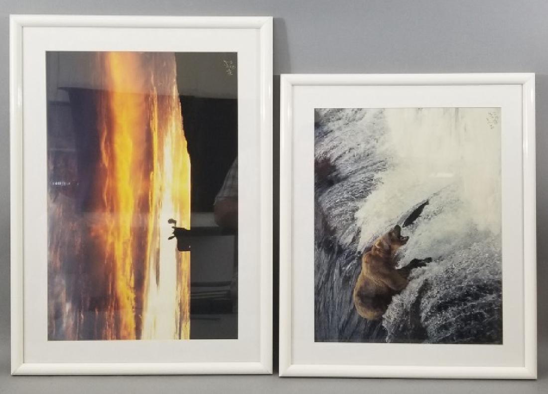 Pair of Framed Rod Kieft Photos of Bear & Moose