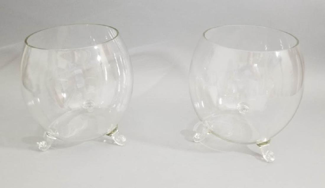 Pair Blown Art Glass Footed Urn Form Vases