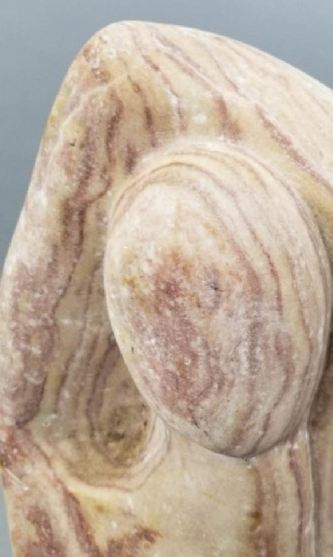 Mid Century Hand Carved Pink Marble Sculpture - 3