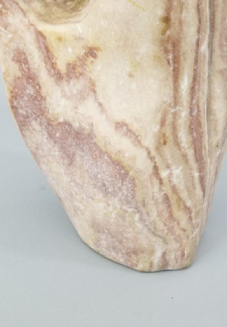Mid Century Hand Carved Pink Marble Sculpture - 4