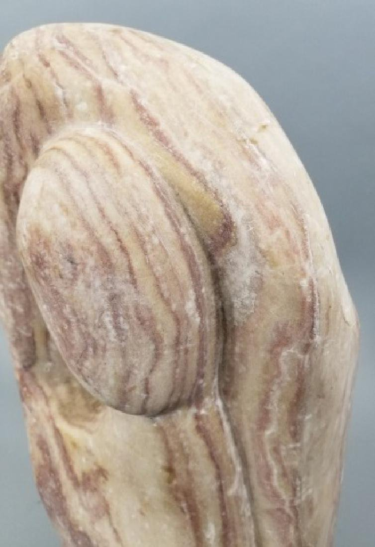 Mid Century Hand Carved Pink Marble Sculpture - 5