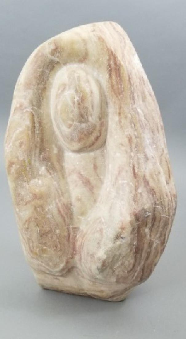 Mid Century Hand Carved Pink Marble Sculpture - 6