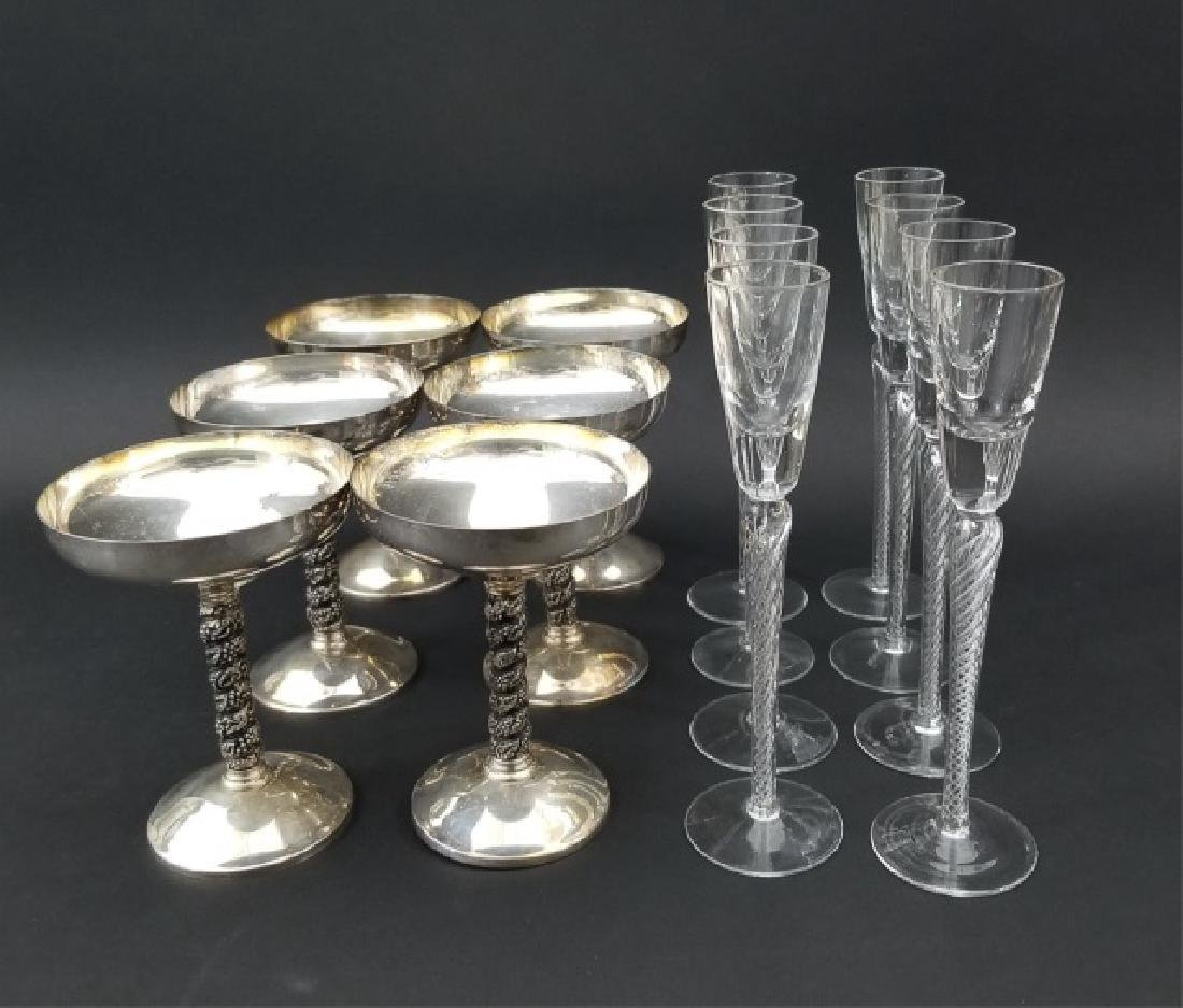 Spanish Silver & Italian Glass Champagne Flutes