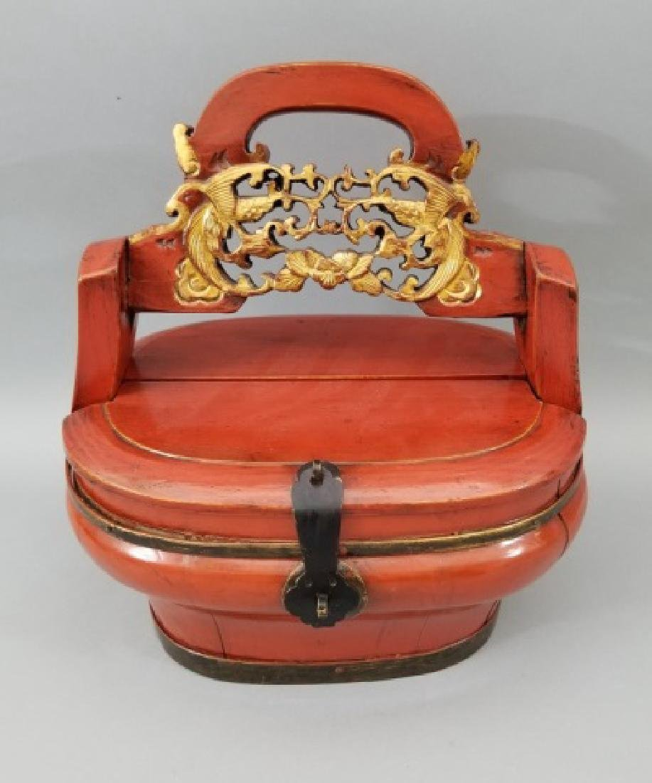 Contemporary Chinese Wooden Box with Carved Handle - 2
