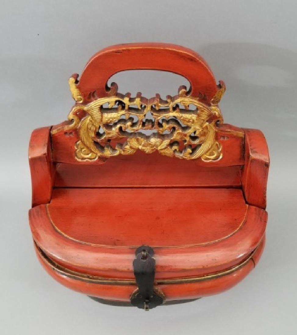 Contemporary Chinese Wooden Box with Carved Handle - 3