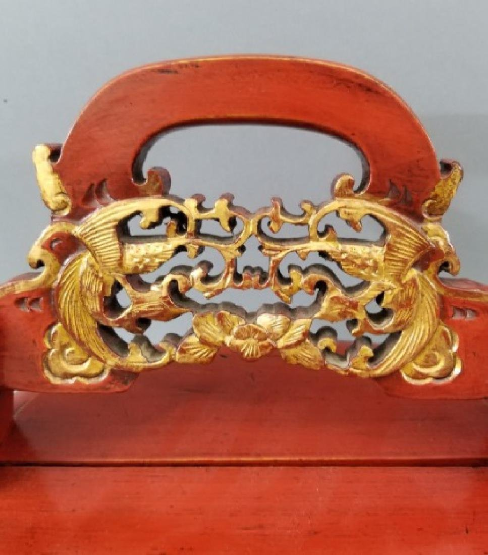 Contemporary Chinese Wooden Box with Carved Handle - 4