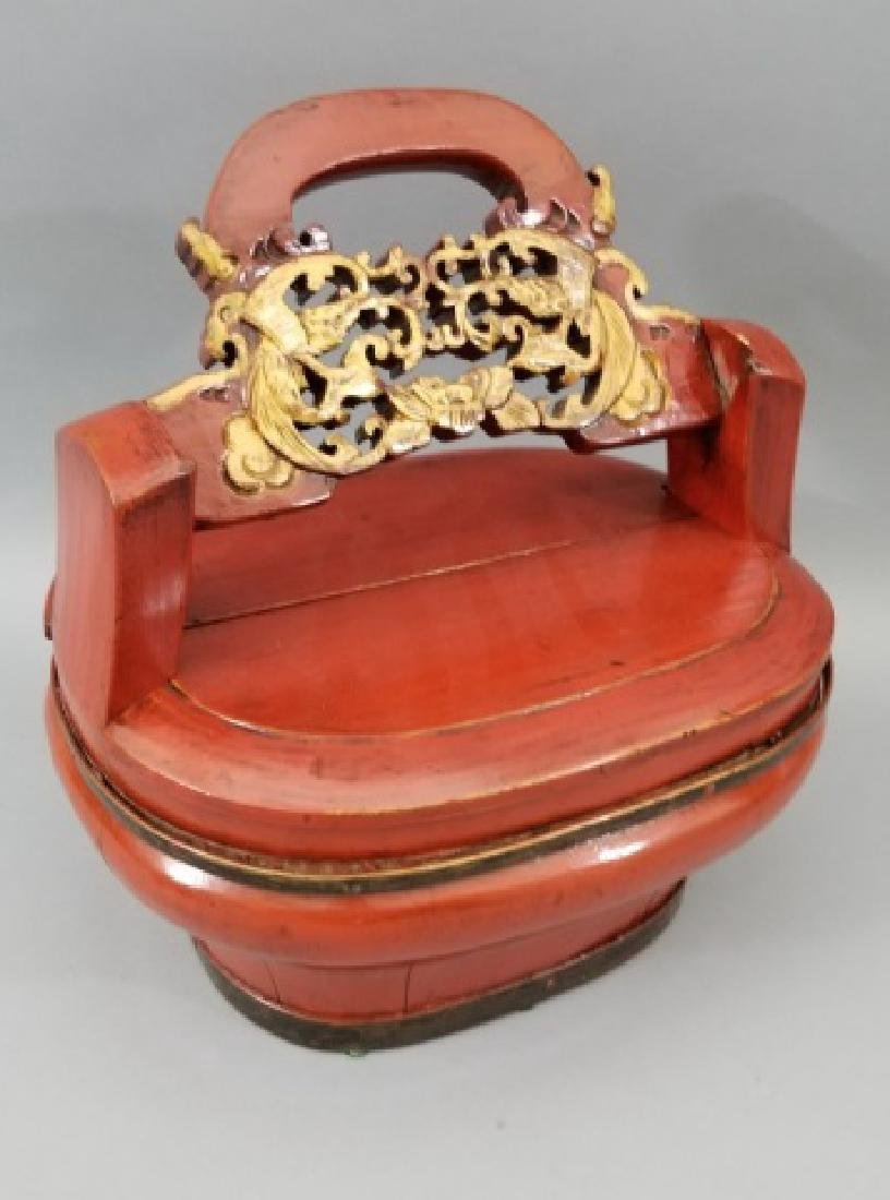 Contemporary Chinese Wooden Box with Carved Handle - 6
