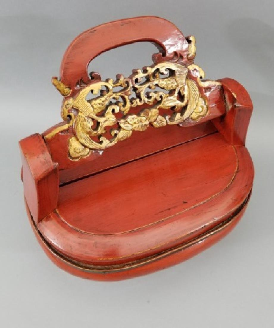 Contemporary Chinese Wooden Box with Carved Handle - 7