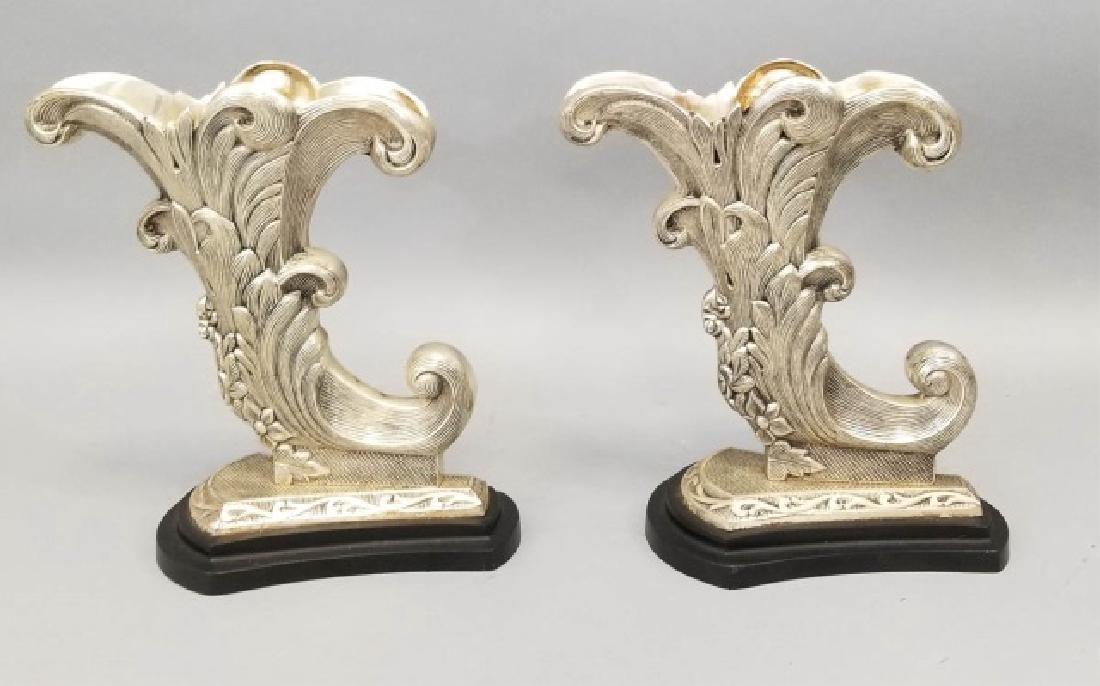 Pair of Silver-Tone Cornucopia Accent Pieces