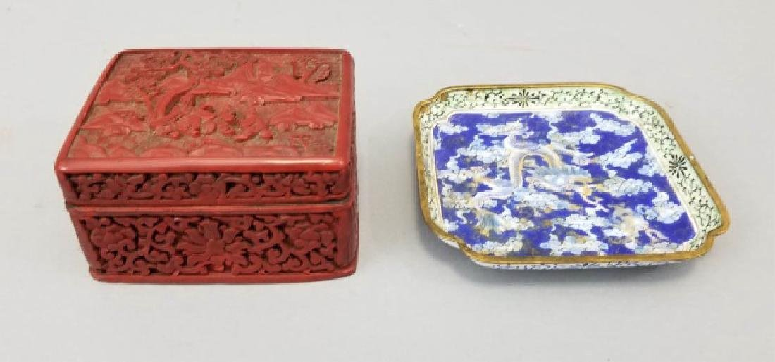 Two Chinese Table Articles - Cinnabar & Enamel