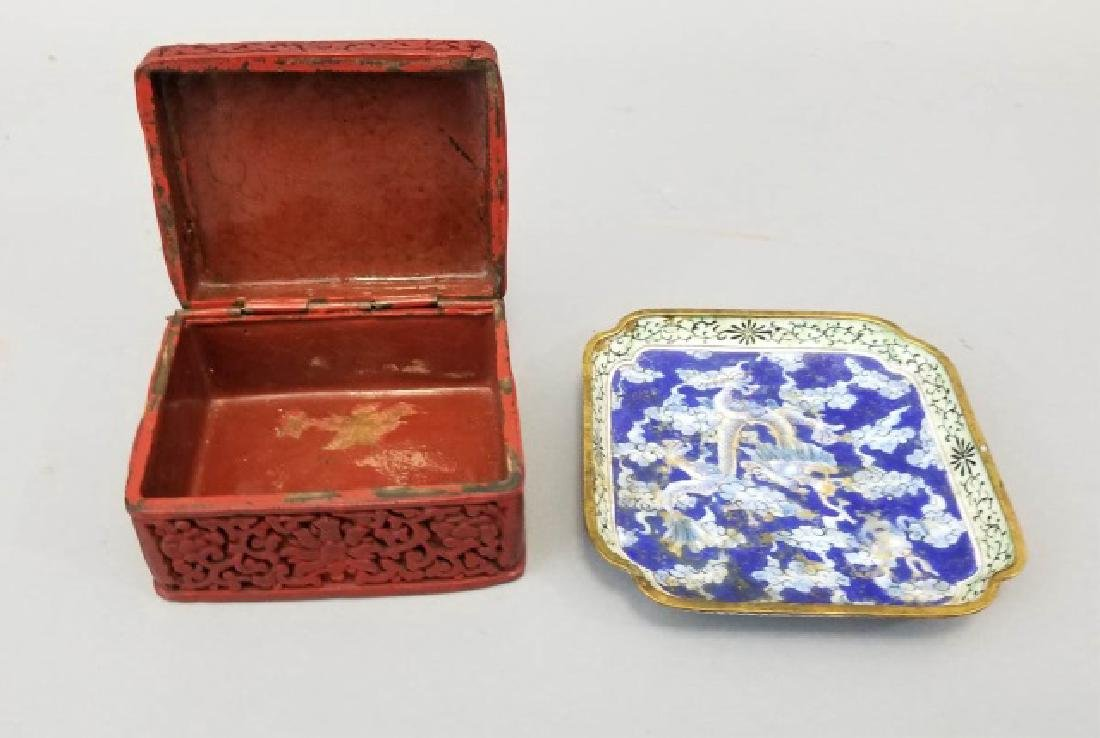 Two Chinese Table Articles - Cinnabar & Enamel - 3