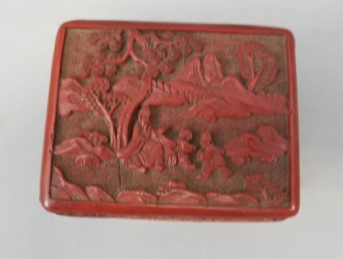 Two Chinese Table Articles - Cinnabar & Enamel - 4