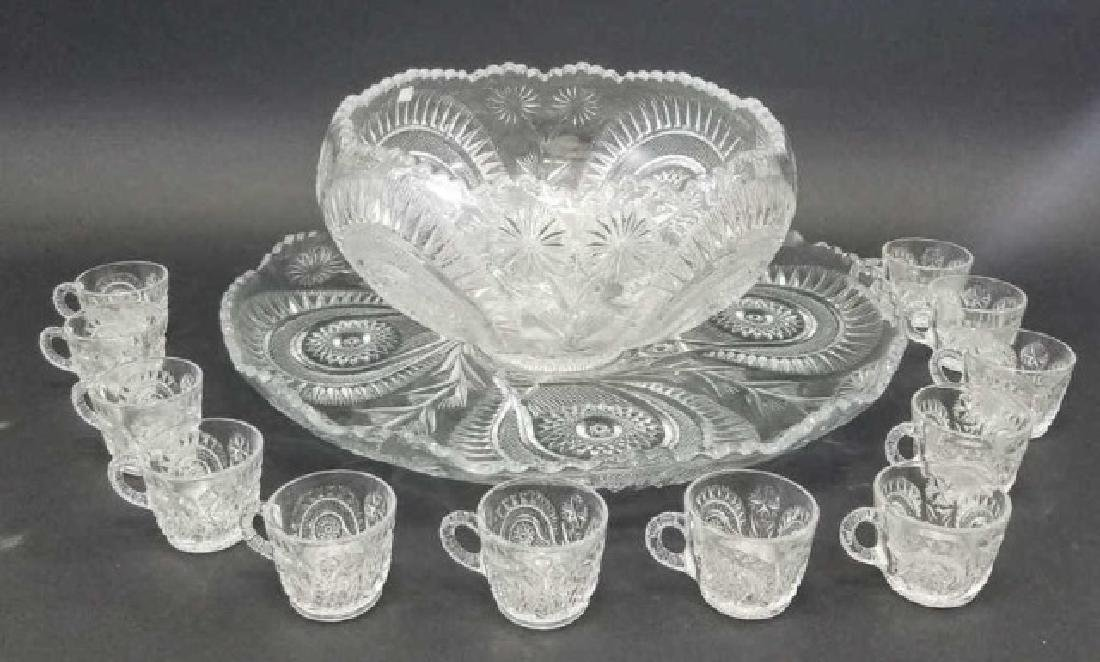 Large Cut Glass Punch Bowl Set, 12 Cups & Tray