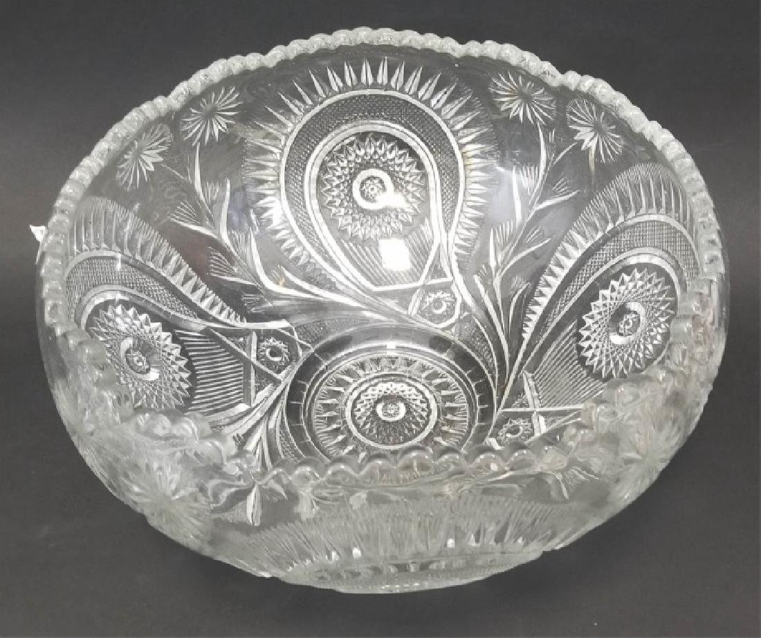 Large Cut Glass Punch Bowl Set, 12 Cups & Tray - 2