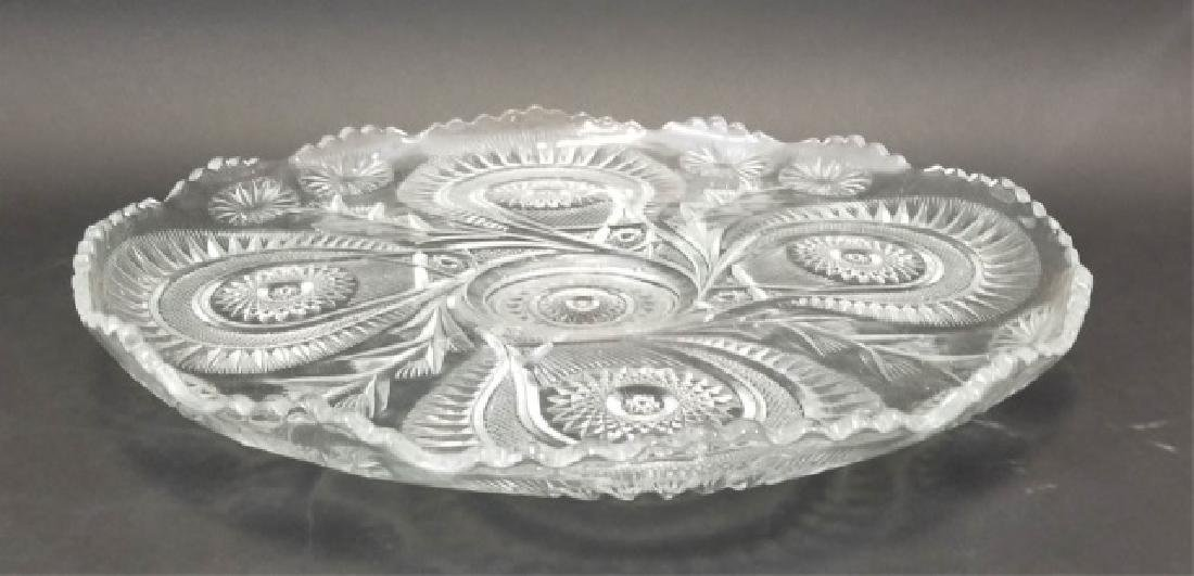 Large Cut Glass Punch Bowl Set, 12 Cups & Tray - 3