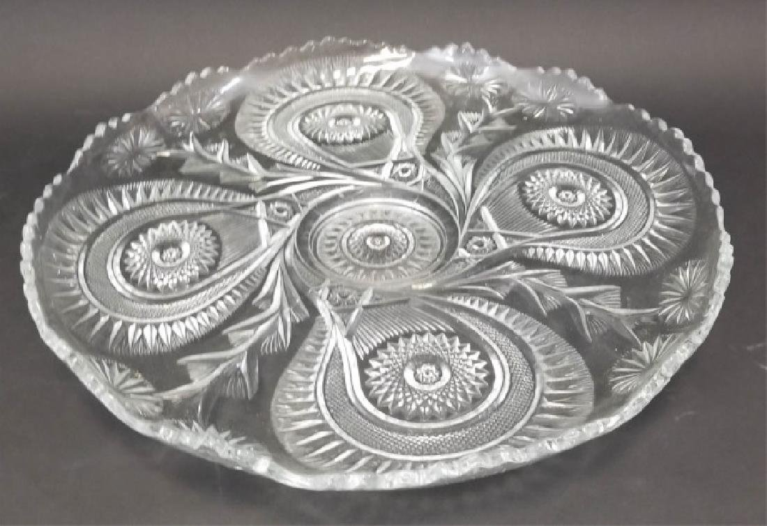 Large Cut Glass Punch Bowl Set, 12 Cups & Tray - 4