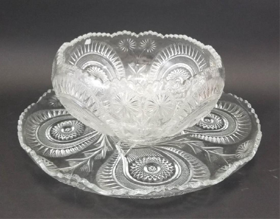 Large Cut Glass Punch Bowl Set, 12 Cups & Tray - 6
