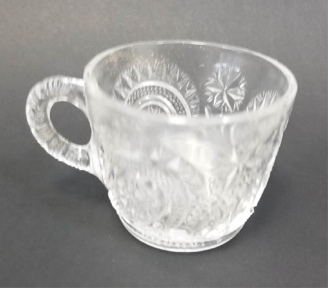 Large Cut Glass Punch Bowl Set, 12 Cups & Tray - 7