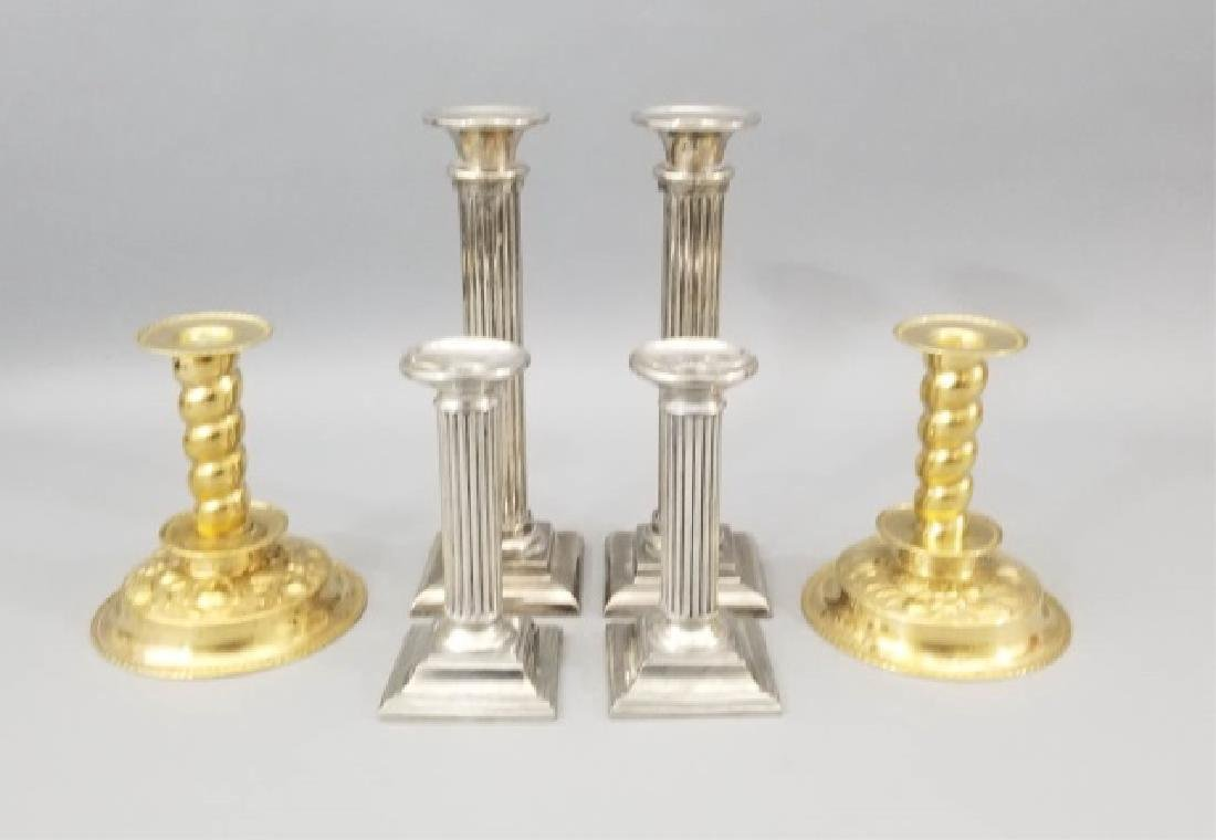 Group of 2 Prs Pewter & 1 Pr Brass Candlesticks