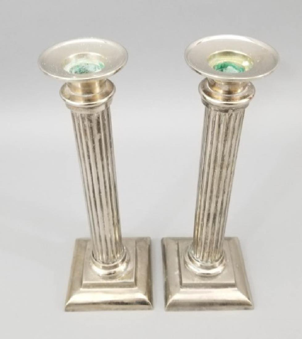 Group of 2 Prs Pewter & 1 Pr Brass Candlesticks - 2