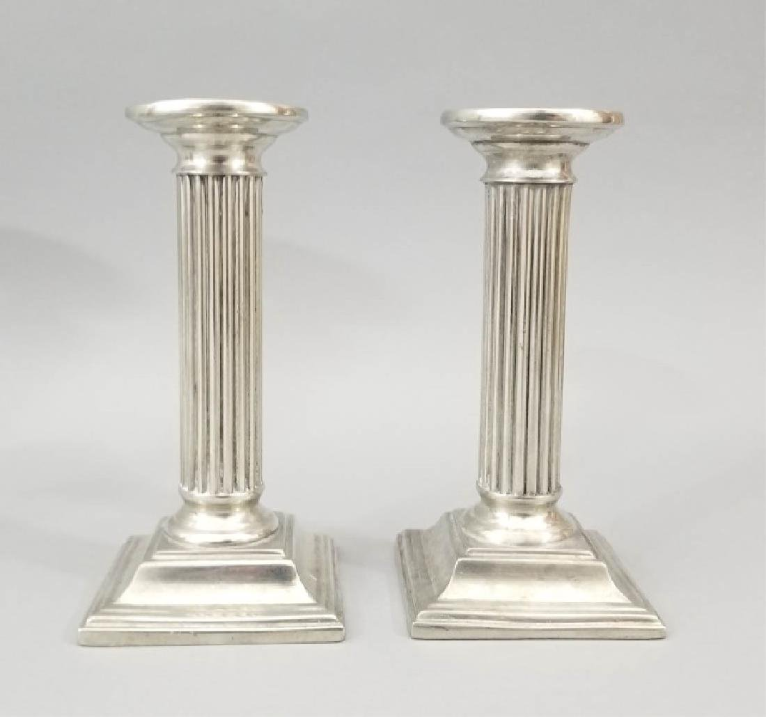 Group of 2 Prs Pewter & 1 Pr Brass Candlesticks - 5