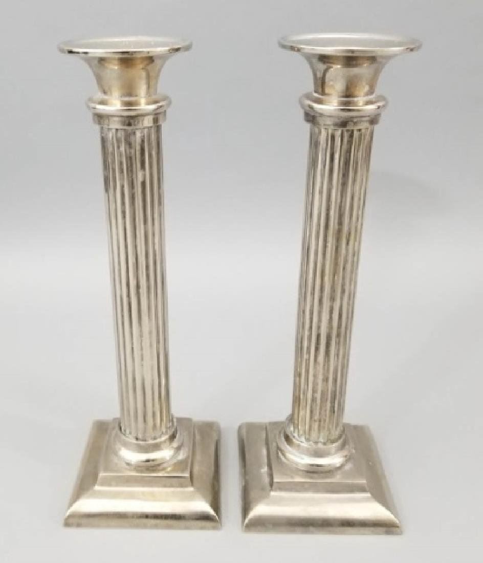 Group of 2 Prs Pewter & 1 Pr Brass Candlesticks - 8