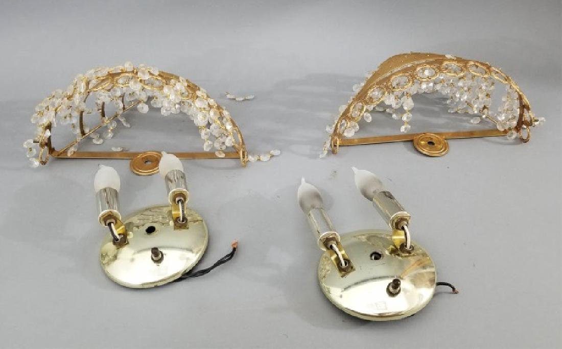 Pair of Contemporary Ormolu & Crystal Sconces - 8