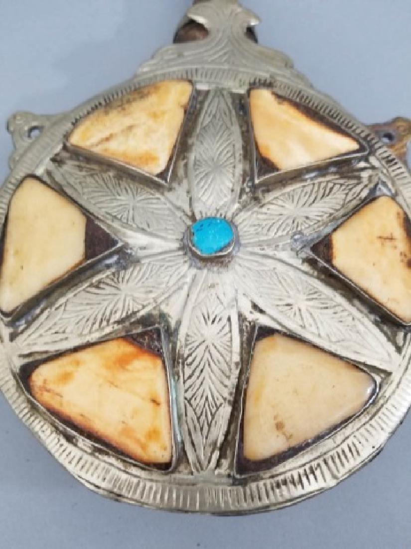 2 Silver & Brass Moroccan Items - Purse & Canteen - 9