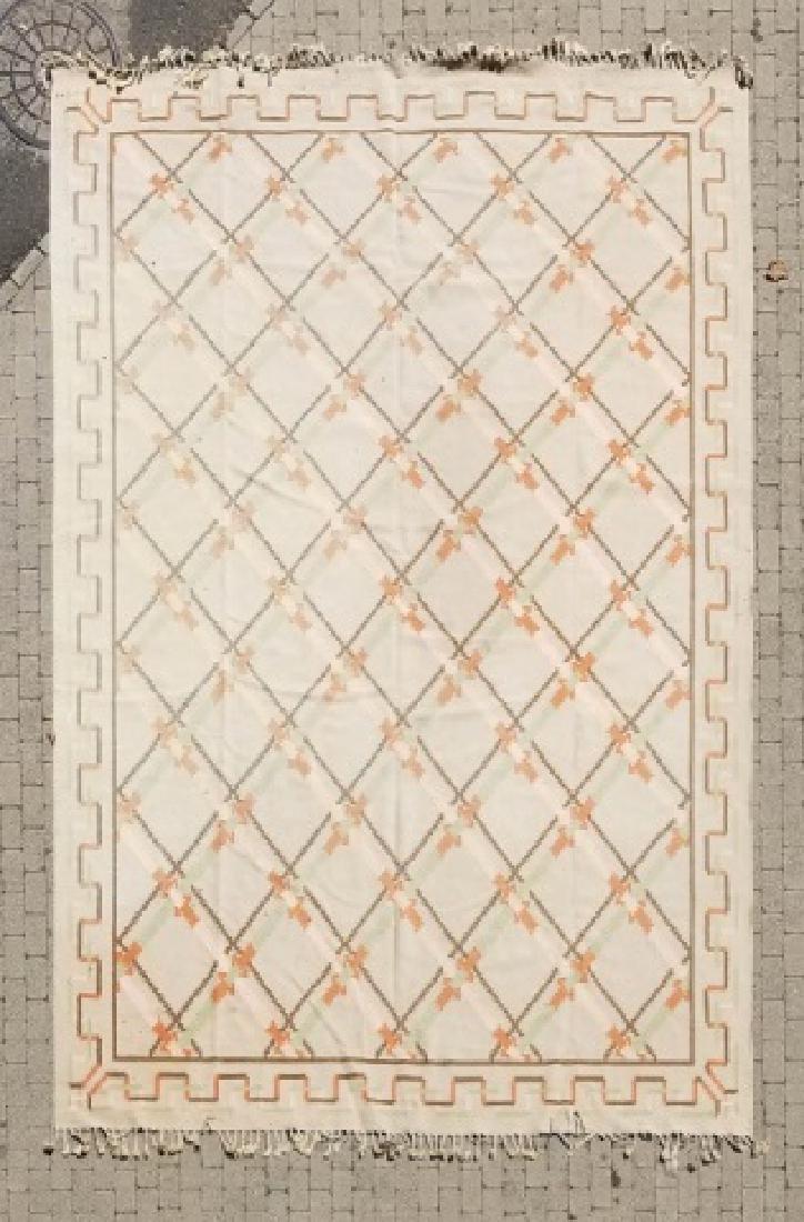 Large Kilim Wool Rug in Beige & Peach Colors