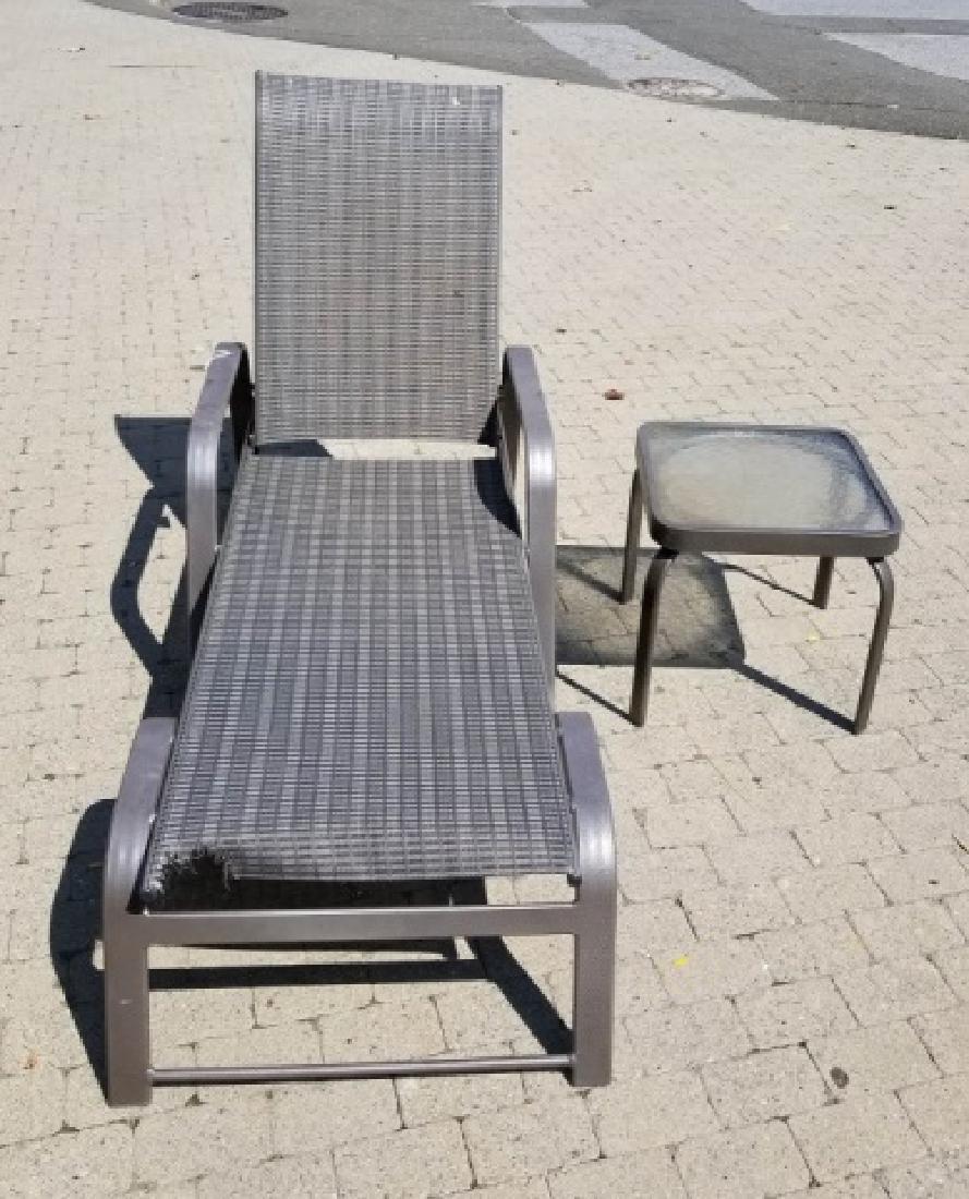 1 Grey Stripe Brown Jordan Chaise Lounge & Table