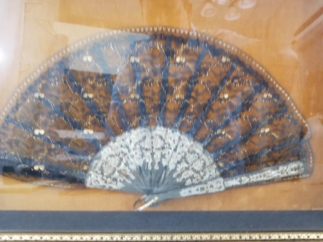 Shadow Box Framed Asian Black Lace Ladies' Fan - 5