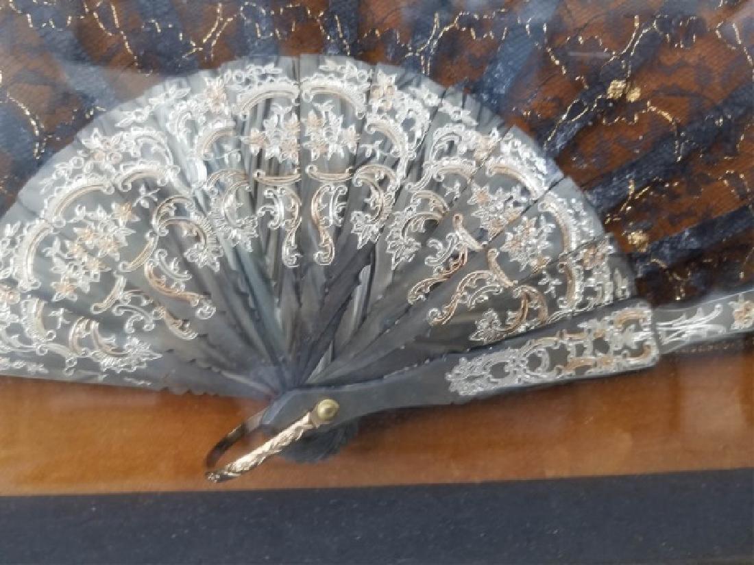 Shadow Box Framed Asian Black Lace Ladies' Fan - 6
