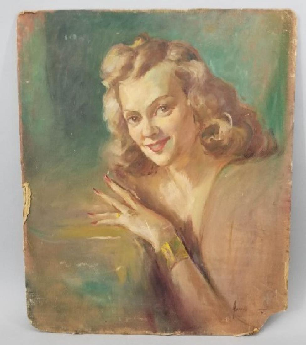 Jarroll-Signed Unframed Oil Portrait of Woman