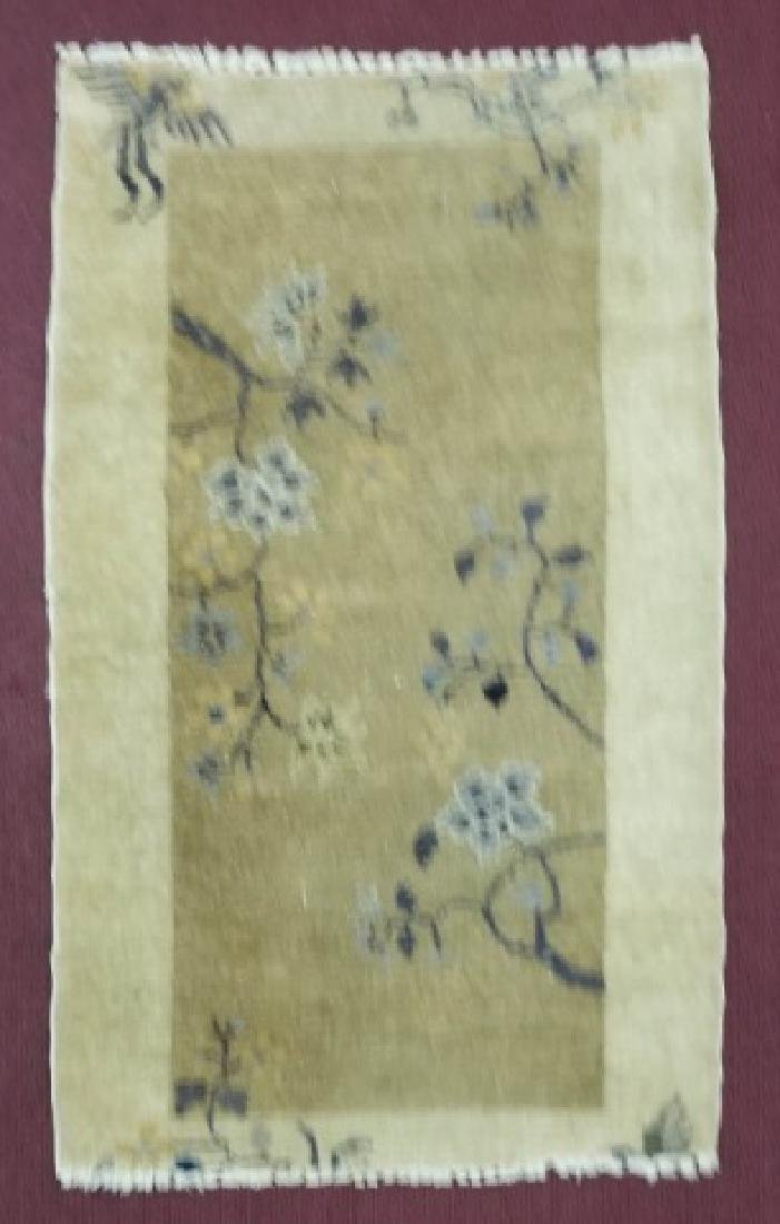Chinese Wool Earthtone Runner or Small Rug