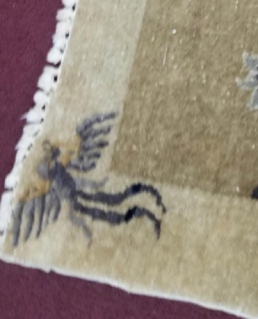 Chinese Wool Earthtone Runner or Small Rug - 5