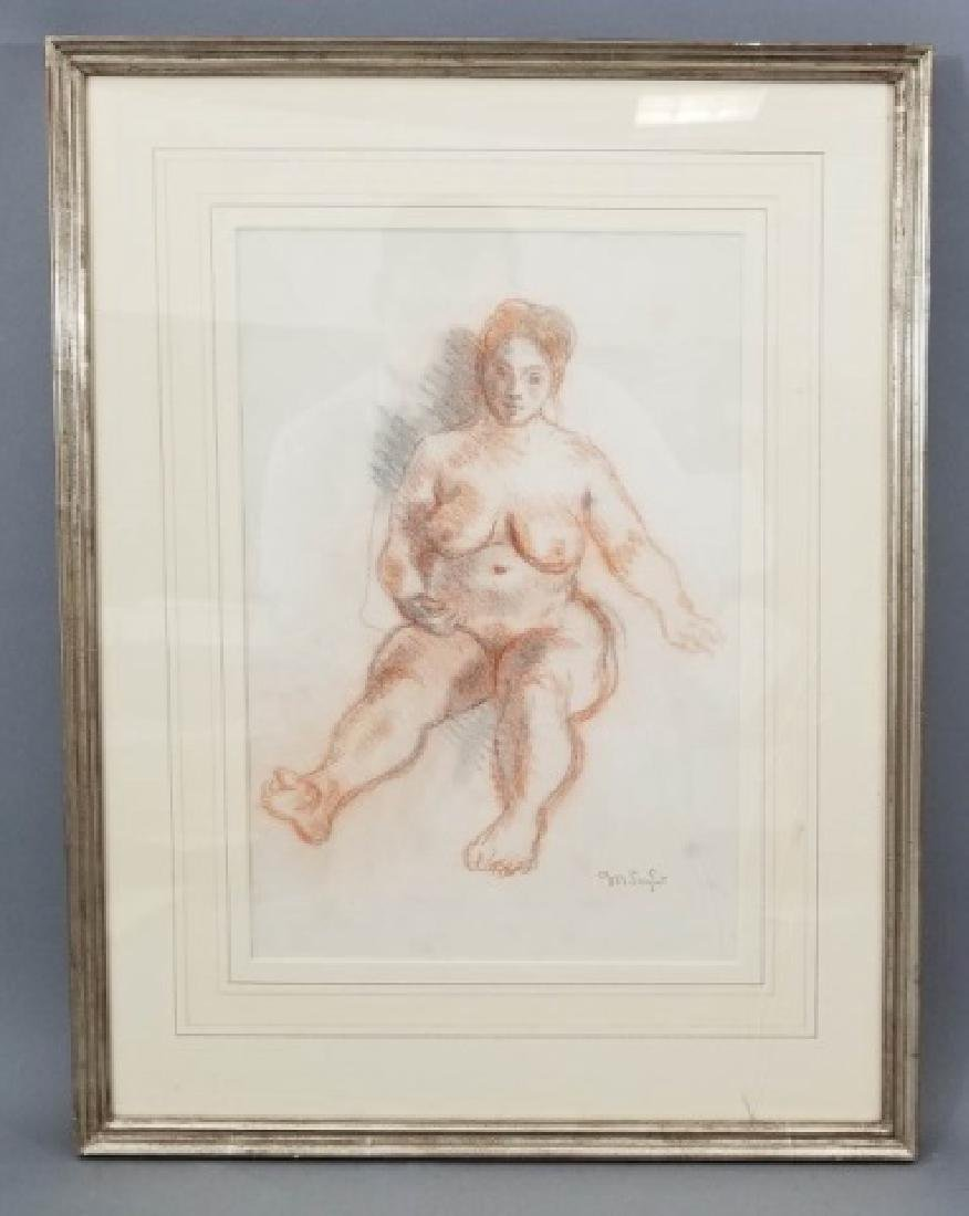 Moses Soyer Conte Crayon Sanguine Seated Nude