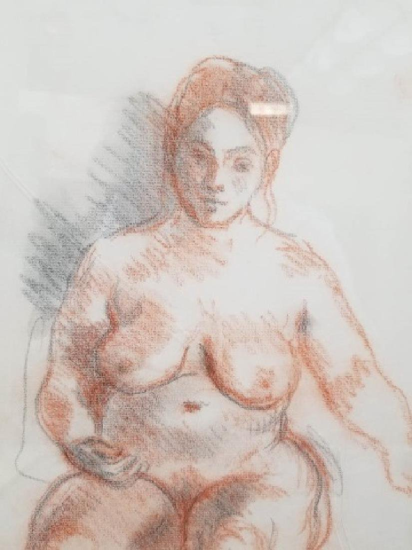 Moses Soyer Conte Crayon Sanguine Seated Nude - 6